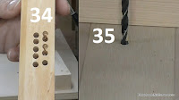 Prueba de taladrado y agujero en la chapa de marquetería de la mesa. http://www.enredandonogaraxe.com