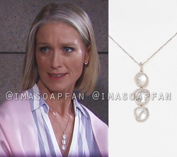 Cassandra Pierce, Jessica Tuck, Mother-of-Pearl Triple Drop Pendant Necklace, General Hospital, GH