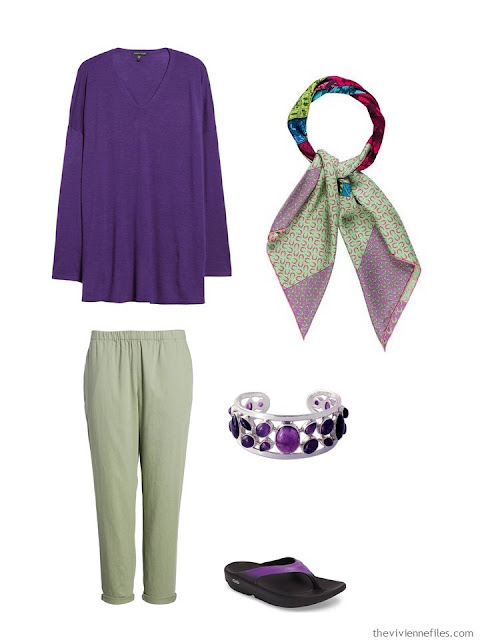 wearing an ultraviolet sweater with glen green pants