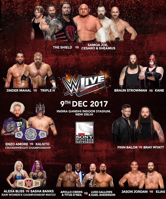 WWE India Live 2017 Matches List, Schedule, Date, Time, Venue
