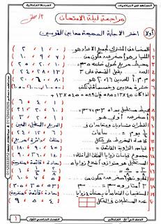 تحميل مراجعة ليلة الامتحان في الرياضيات للصف الرابع الابتدائي ,الملخص فى 10 ورقات الاستاذ مصطفى حسانى .