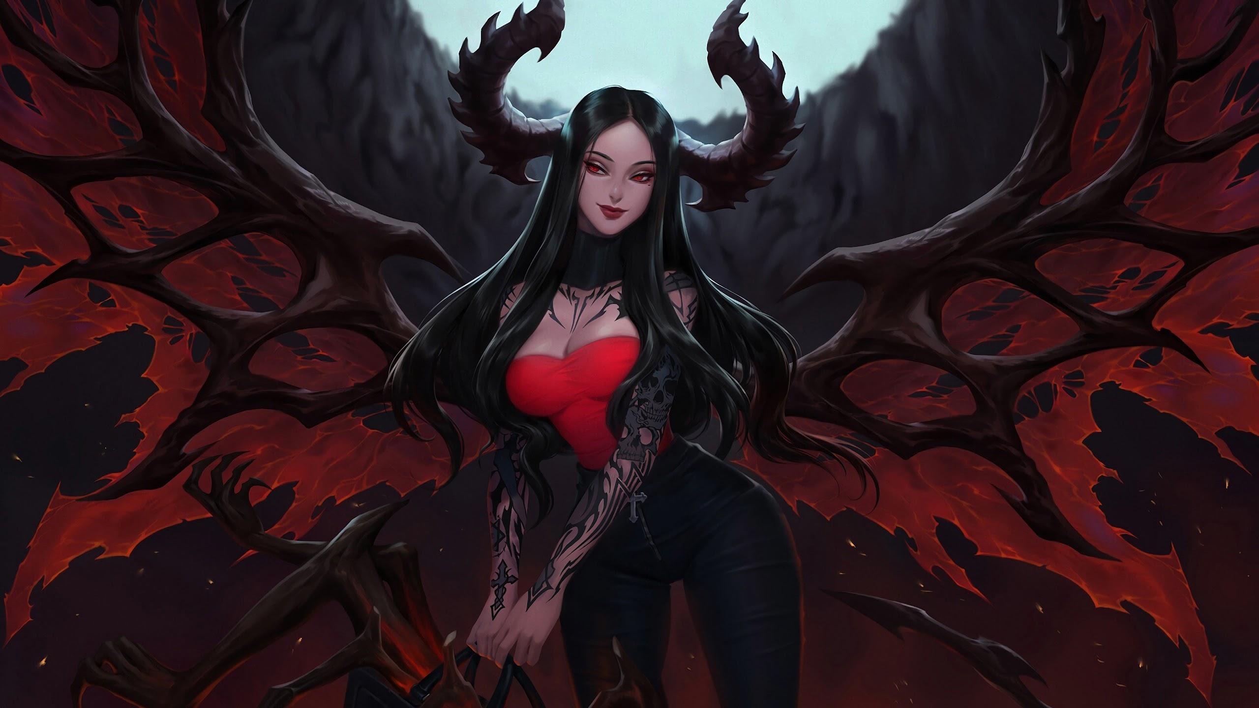 Fantasy Demon Girl Tattoo 4k Wallpaper 157