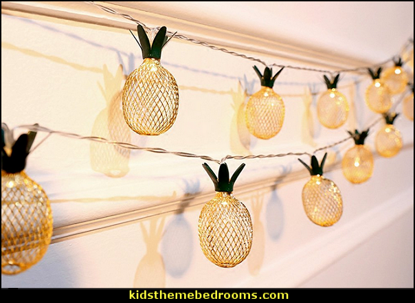 Pineapple String Lights   Tropical party decorations - tropical party ideas - ALOHA Hawaii Luau Party Decorations - Luau Hawaiian Grass Table Skirt raffia Decorations - Hula Hibiscus Tropical Birthday Summer Pool Party Supplies - tiki party pineapple party decorations - beach party - Birthday party  photo backdrop - tropical themed cake decorations - beach tiki themed table decorations -  party props - summer party