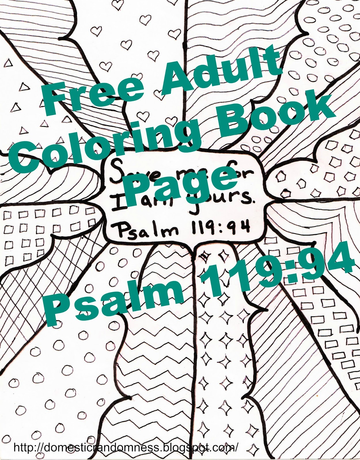 Domestic Randomness: Free Adult Coloring Book Page 4 - Psalm 119:94 ...