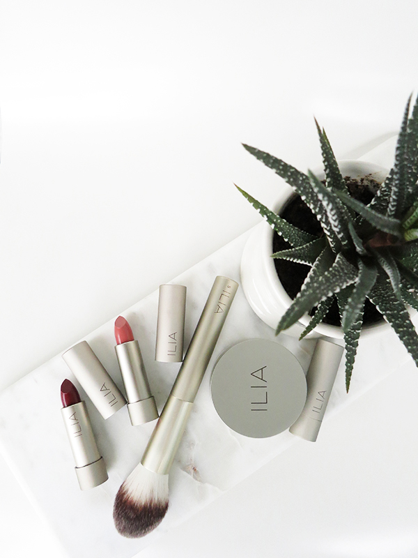 Organic, green, natural beauty brand ILIA launches 3 new lipstick shades (Lucy's Party, The Brides, Madam Mina), a loose translucent powder, and makeup brushes for fall 2016.