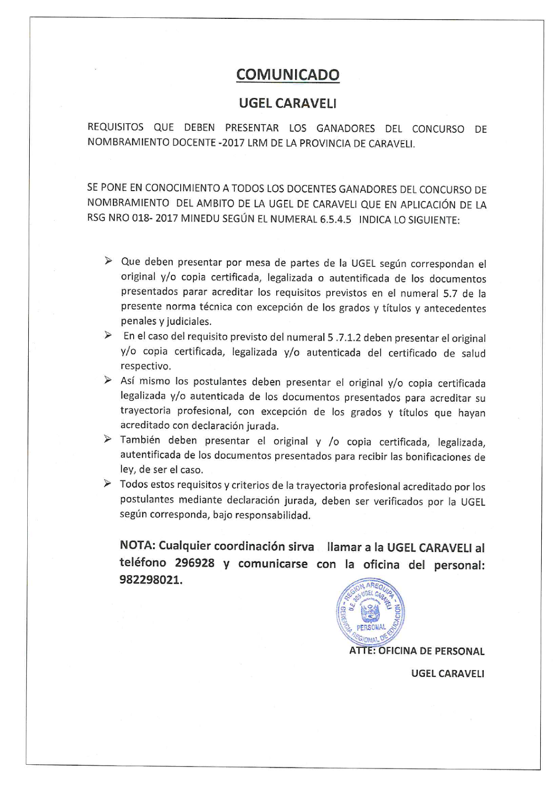 Comunicado ugel caraveli requisitos que deben presentar for Concurso docente 2017