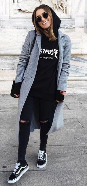 casual style addiction / sweatshirt + grey coat + bag + rips + sneakers