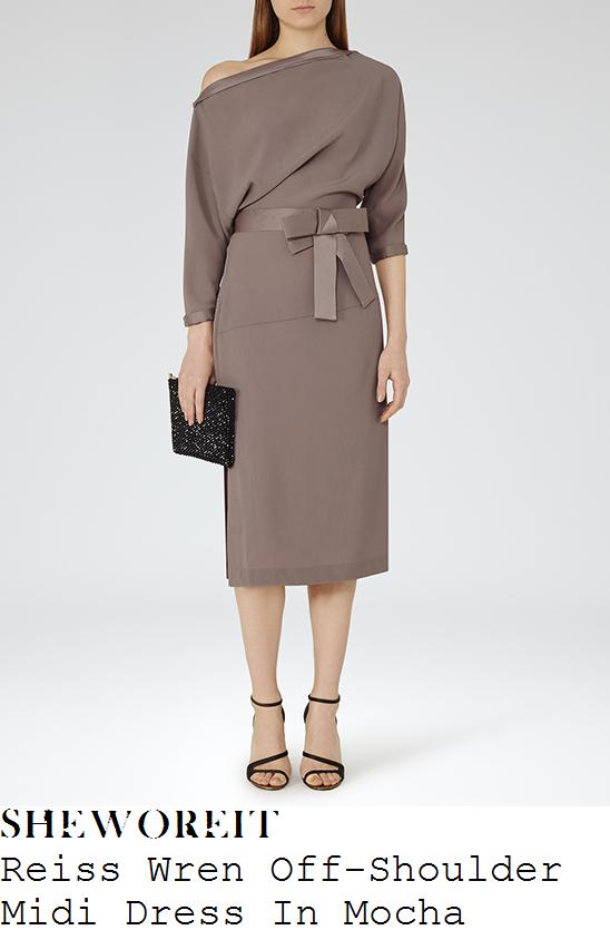 megan-mckenna-reiss-wren-mocha-brown-off-the-shoulder-three-quarter-sleeve-bow-detail-draped-midi-dress