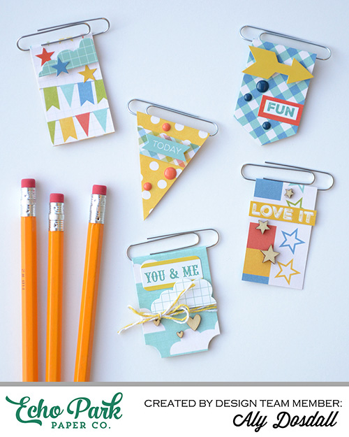 DIY Paperclip Bookmarks by Aly Dosdall for Echo Park Paper featuring the A Fair To Remember collection #echoparkpaper #backtoschool #DIY