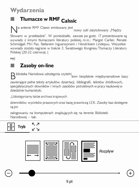 PocketBook TouchHD2 - przykład nie do końca udanego zastosowania trybu reflow