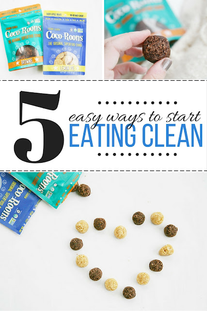 5 easy ways to start eating a cleaner diet, and snacking healthier with the help of Sejoyia Coco-Roons cookies.