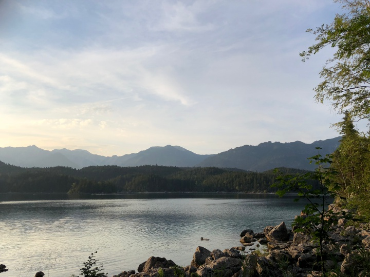 View over lake Eibsee in Bavaria, Germany