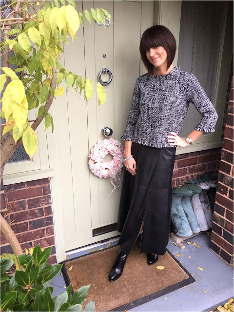 My Midlife Fashion, Marks and spencer a line midi faux leather skirt, zara frayed tweed top, j crew bracelet, block heel ankle boots