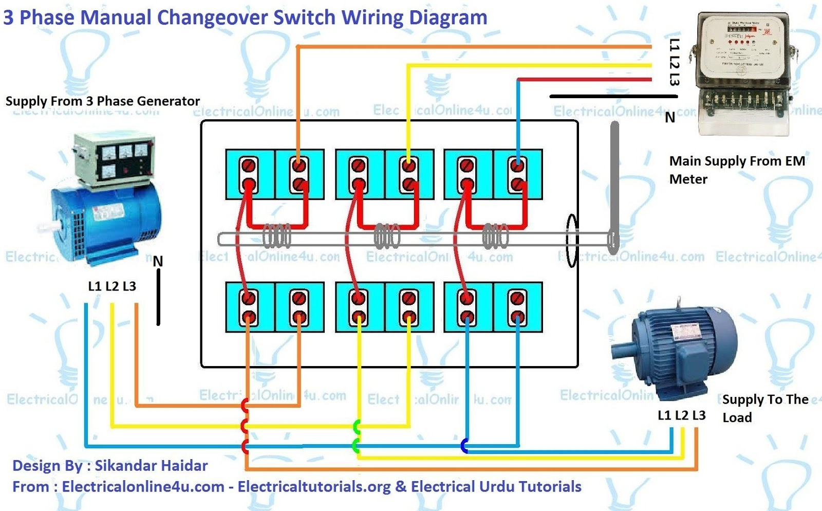 3 Phase Switch Wiring Diagram: 3 Phase Manual Changeover Switch Wiring Diagram For Generator,Design