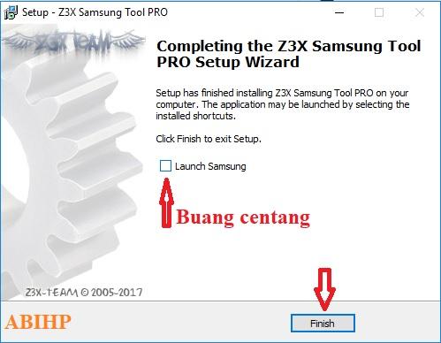 Buang tanda centang dan klik Finish pada instalasi Z3x ini.