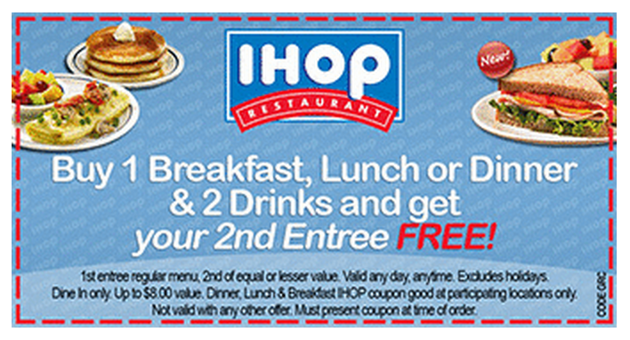 photo about Ihop Coupons Printable known as iHop Discount codes 2014 Printable Coupon - Order 1 Entree 2 Beverages