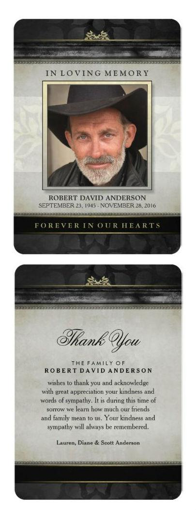 black contemporary sympathy thank you card front and back