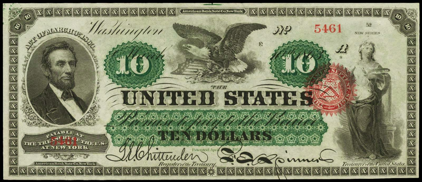 10 Dollar bill 1863 Lincoln