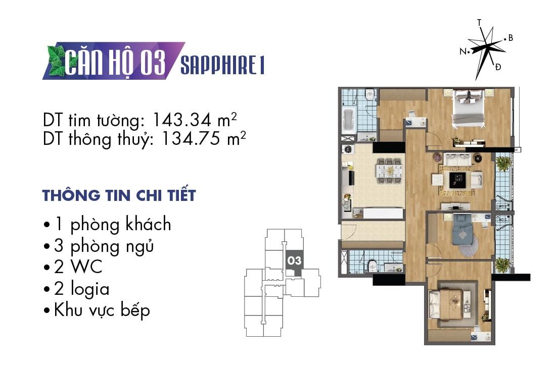 Mặt bằng căn hộ 03 tòa Sapphire 1