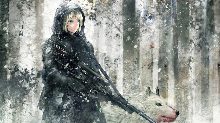 Anime, Girl, Wolf, Sniper Rifle, 4K, 3840x2160, #37