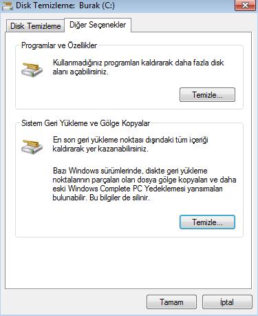 Disk Temizleme Windows 7