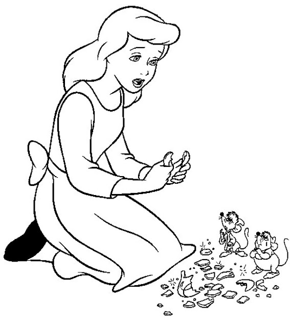 Sad Cinderella Coloring Pages For Kids
