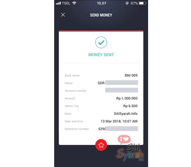 langkah transfer tcash ke rekening bank mandiri dan bni