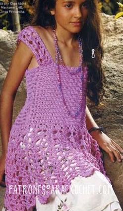 Blusa o vestido con breteles corset y falda calada al crochet