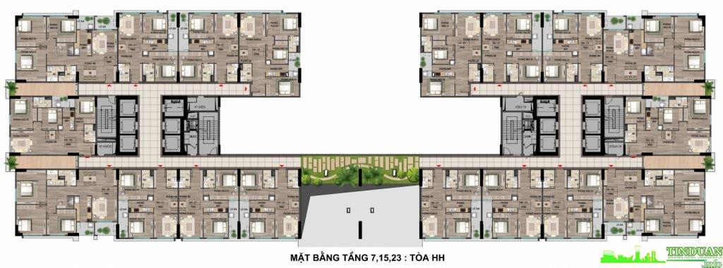 Mặt bằng căn hộ từ tầng 7 ,15,23 tại dự án Bộ Công An - Cổ Nhuế