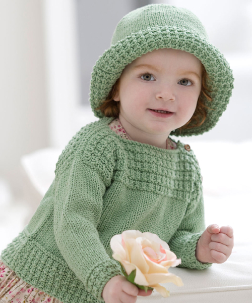Baby Boat Neck Sweater and Sun Hat - Free Pattern