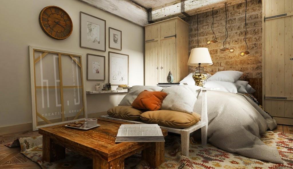 Dormitorio rustico con ladrillos y madera dormitorios for Master decoracion