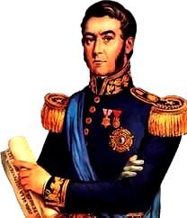 Dibujo de don José de San Martín a color