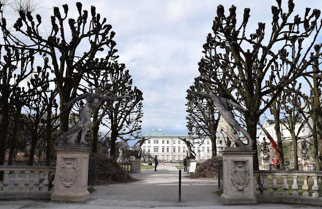 Mirabell Gardens, fencer statues, pollarded linden trees, salzburg