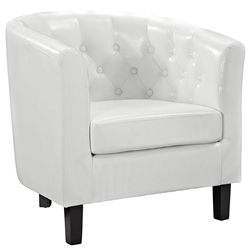 Tufted White Accent Chair
