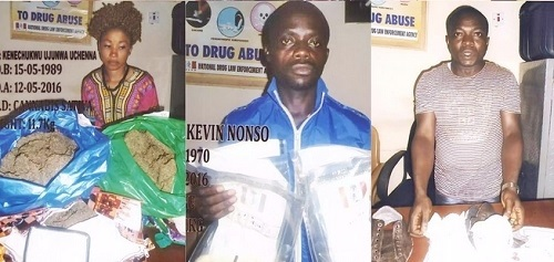 See Faces of Suspects Arrested at Enugu Airport with Drugs Concealed Inside Vegetables, Shoes (Photos)