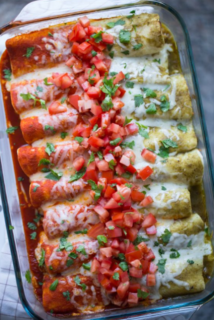 Red and Green Enchiladas