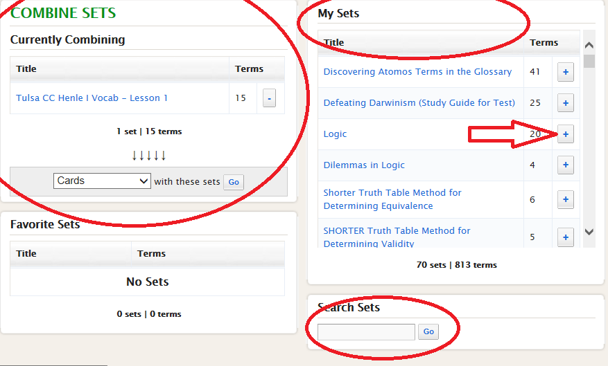 Step Up to the Challenge: Quizlet- Combining Sets