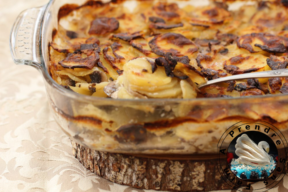 Gratin de pommes de terre aux champignons de Paris