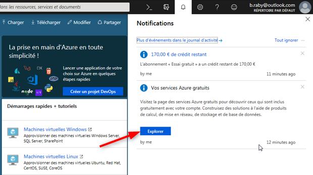 Vos services gratuits dans l'Azure Cloud