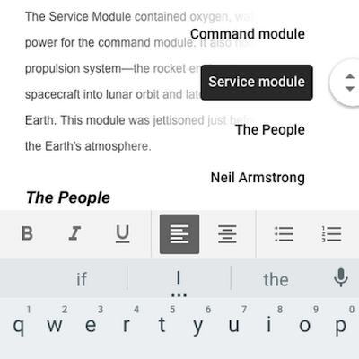Google docs mobiel navigeren