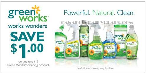 Canadian Daily Deals: Canada Coupons: Save $1 Greenworks Cleaning