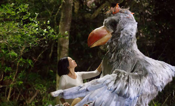Louisa So has her unique way of communicating with the giant bird in STAYCATION (2018)