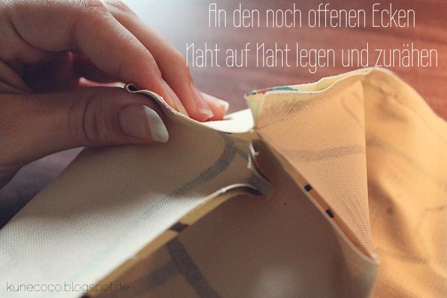 KuneCoco • DIY • Utensilo aus Wachstuch • Ecken nähen