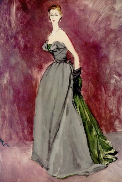 Illustration by Erickson of woman standing in evening dress designed by Dior