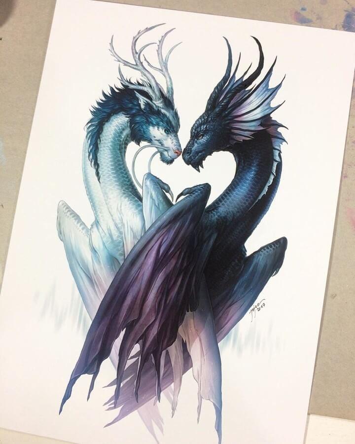 03-Yin-and-Yang-Dragons Jonas-Jödicke-Digital-Art-www-designstack-co