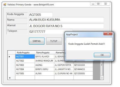 Validasi Primary Key Ganda Pada VB .Net