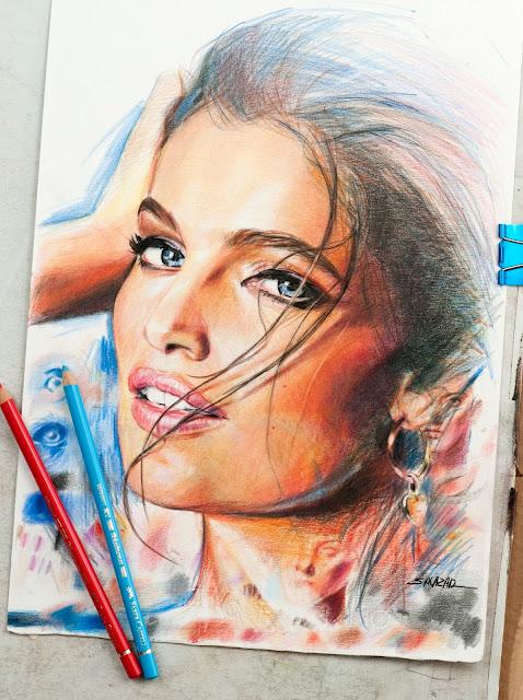 Retrato a lápiz de color Polychromos