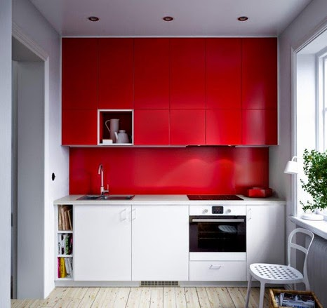 New Collection IKEA Kitchen Units, Designs And Reviews, Small Kitchen Red  And White Combination