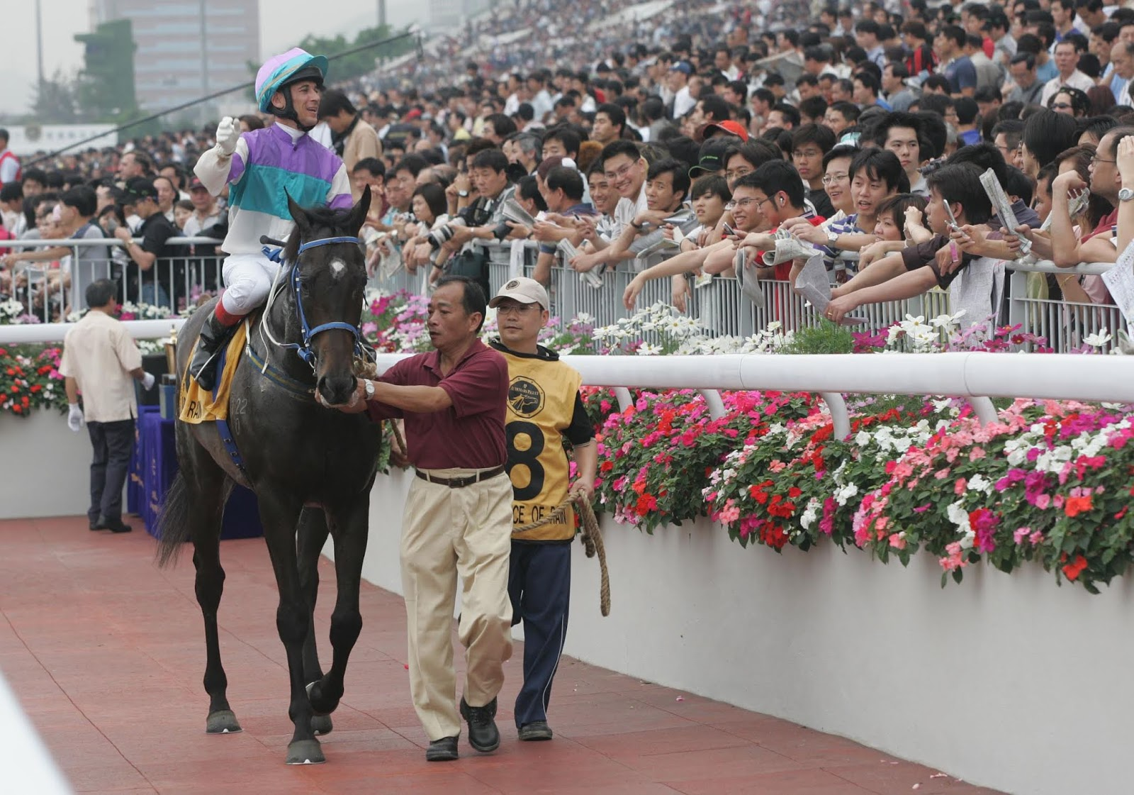Anthony Delpech saluting the crowd at Sha Tin on Vengeance Of Rain