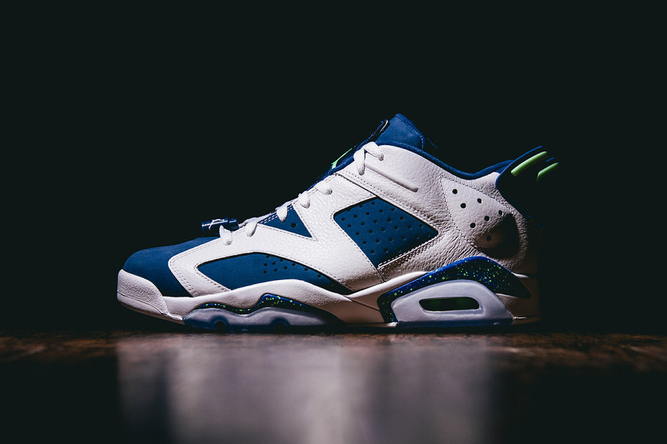 "d8eabfd83b0a68 The Air Jordan 6 Retro Low arrives in a bright new colorway for Fall 2015.  Dubbed ""Ghost Green"